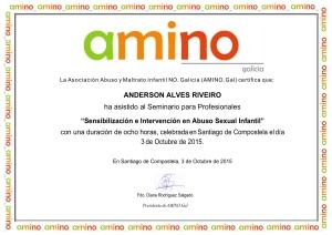 """Certificado de asistencia al Seminario para profesionales """"Sensibilización e Intervención en Abuso Sexual Infantil"""", realizado en Santiago deCompostela."""